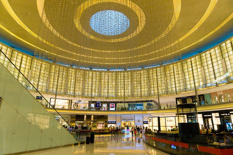 A sparkling golden ceiling in the Dubai Mall.