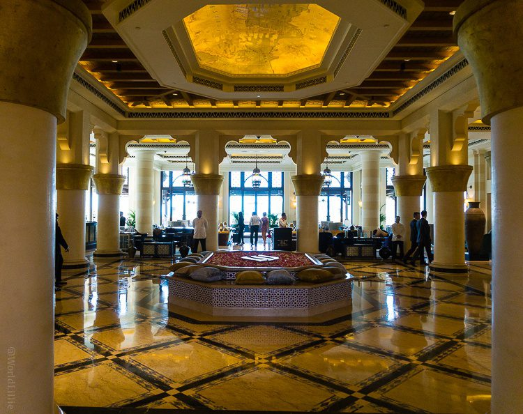 A sumptuous hotel lobby near the Burj al Arab.