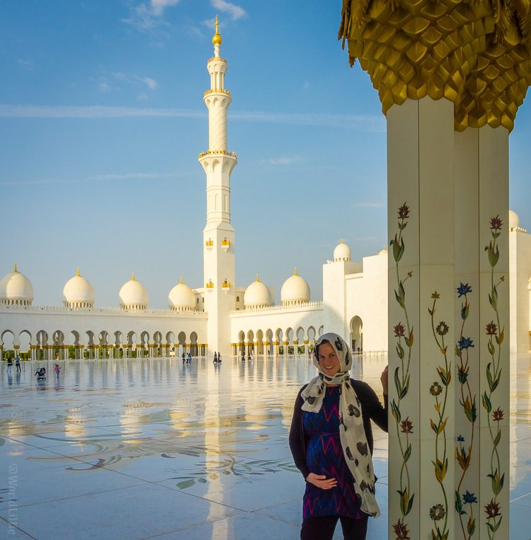 Me being pregnant at the Grand Mosque in Abu Dhabi.