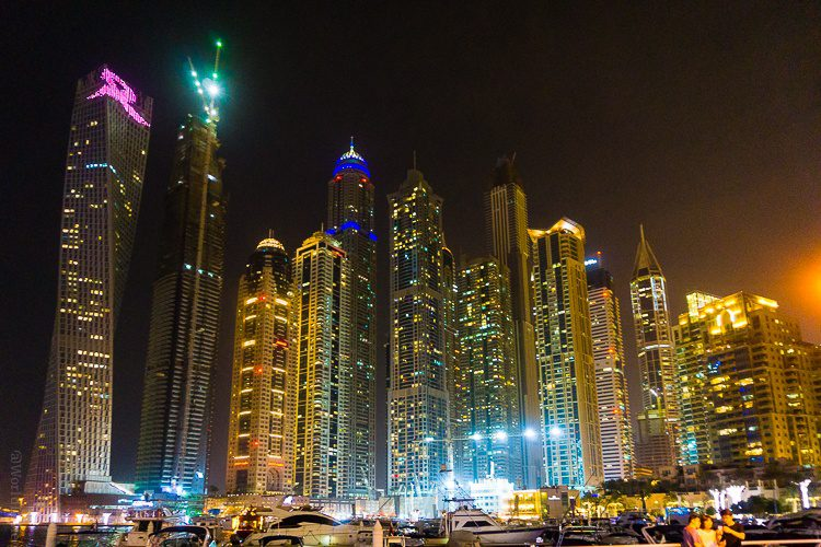 The vibrant Marina area of Dubai.
