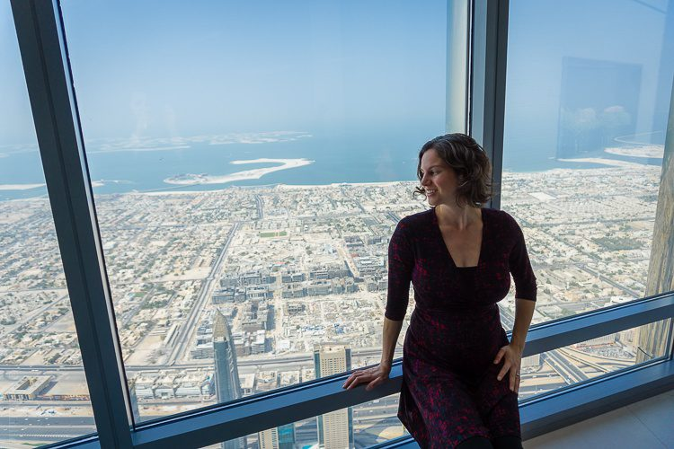 Me at the top of the Burj Khalifa, looking down at Dubai!