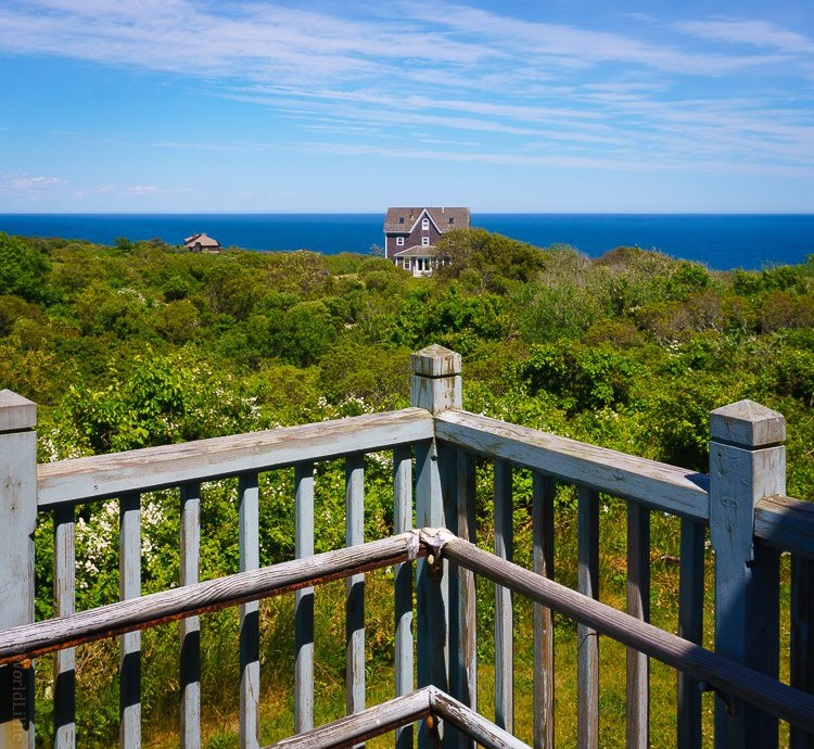 The tranquil ocean view from the lighthouse porch.