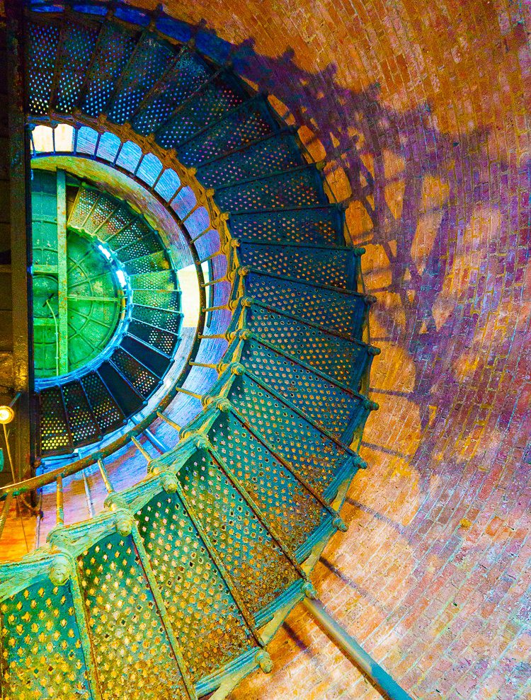 Spiral staircase in the Block Island Southeast Light: Best of Rhode Island Lighthouses: