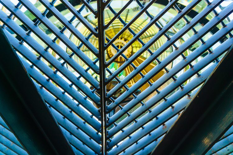 Looking up through the grate at the lighthouse light.