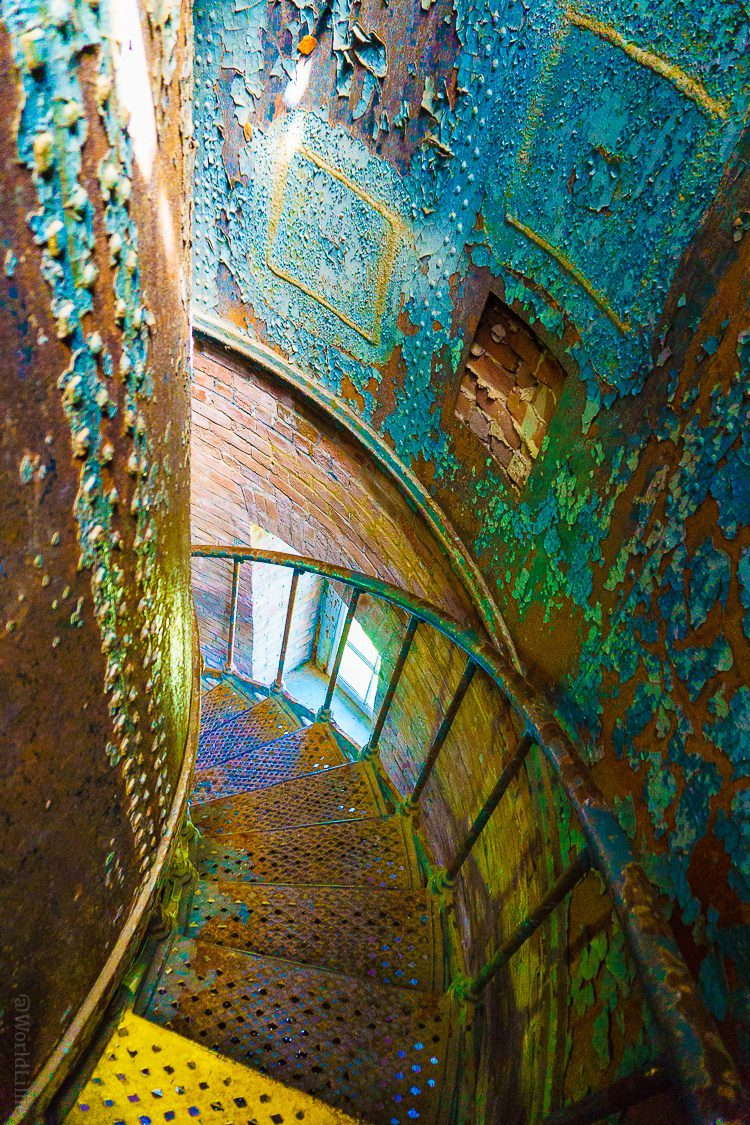 Southeast Light in Block Island, RI: When a historic lighthouse spiral staircase becomes art.