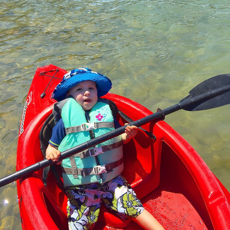 The little sweetie, kayaking in Ohio's Lake Erie.