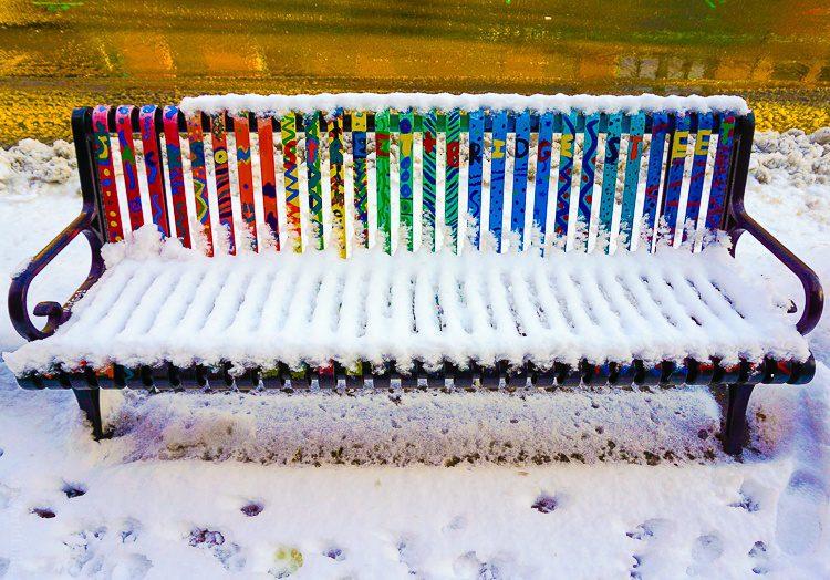 A rainbow bench.