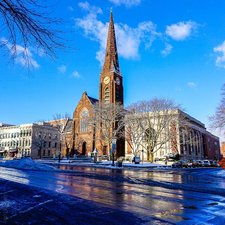 Northampton, MA church and blue sky: Weekend getaways in New England