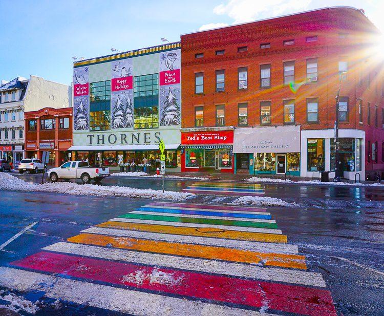 This rainbow crosswalk is so jolly!
