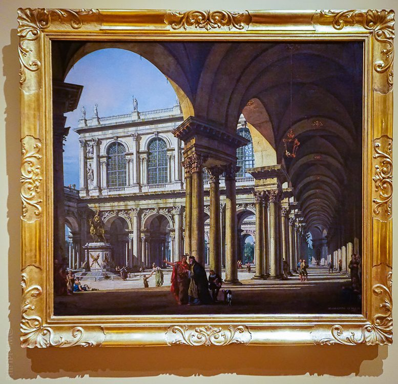 """Love the arches in """"View of a Palace Courtyard"""" by Lorenzo Bellotto, 1765."""