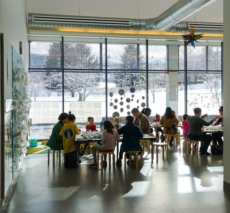 The light-filled kids' art room.