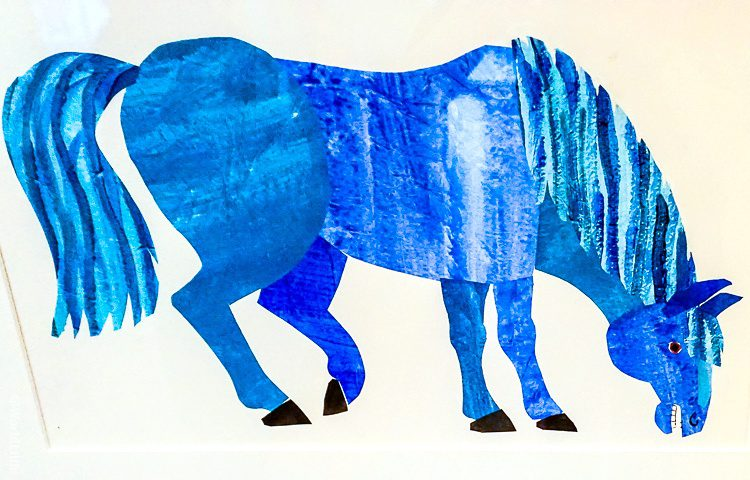 Eric Carle's blue horse, on display in the museum.