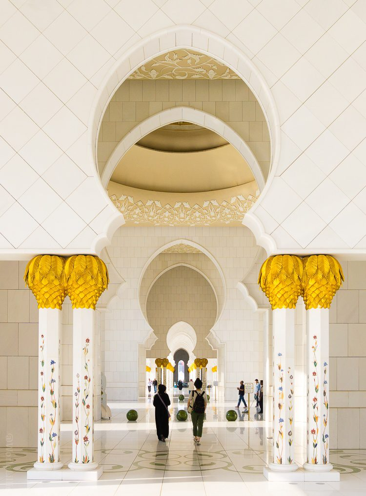 Keyhole doorway shapes! The Sheikh Zayed Grand Mosque in Abu Dhabi, UAE is one of the most beautiful free tourist attractions in the world. Learn tips on visiting this amazing building.