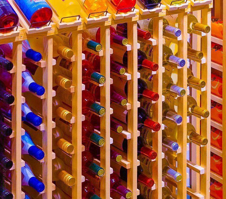Towers of beverage bottles.