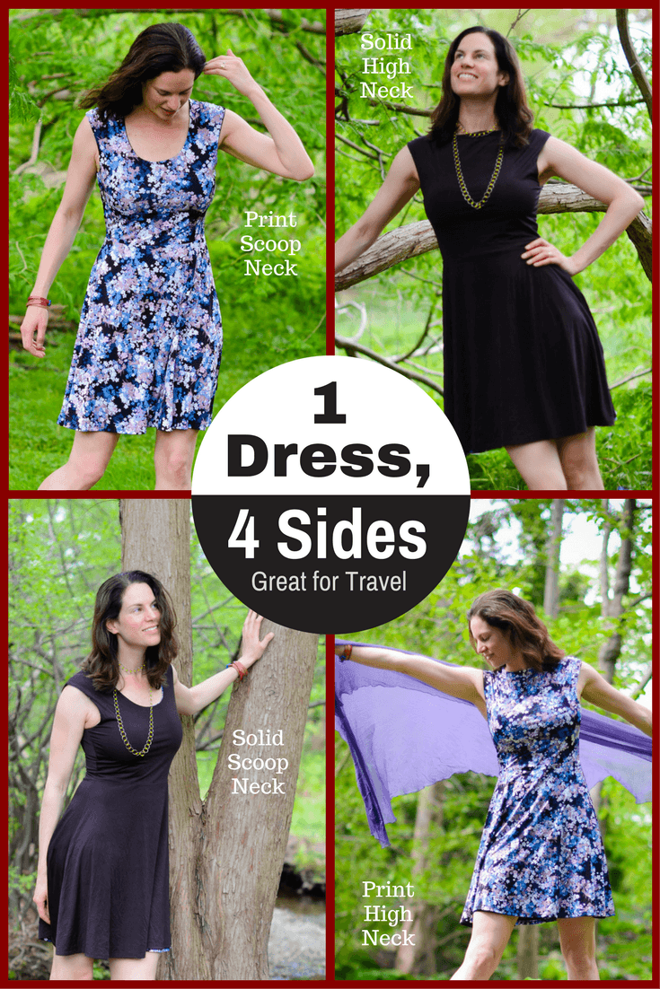 How to pack light by reversible dresses and stretchy dress pants.