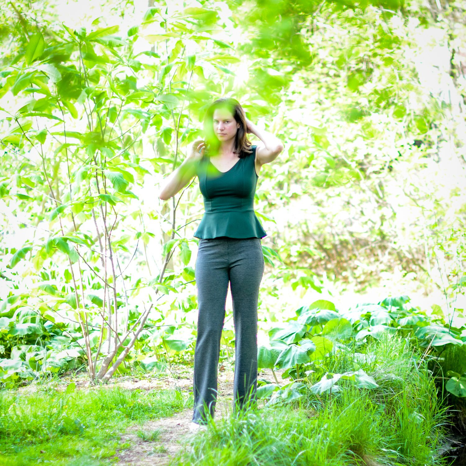 An artistic moment, walking through the Arboretum in the Dress Yoga Pants.