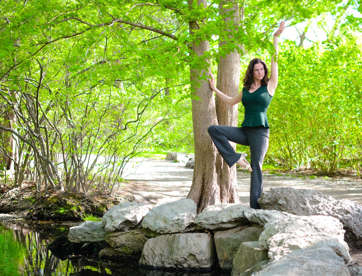 These dress pants are also yoga pants! Perfect for randomly poses by the side of a river.