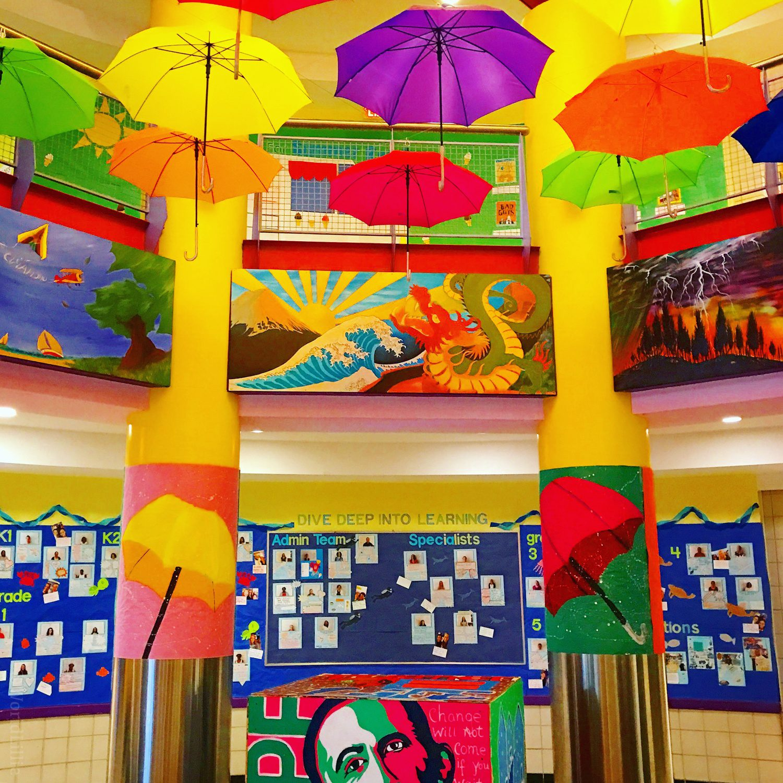 A gorgeous art exhibit at a local school.