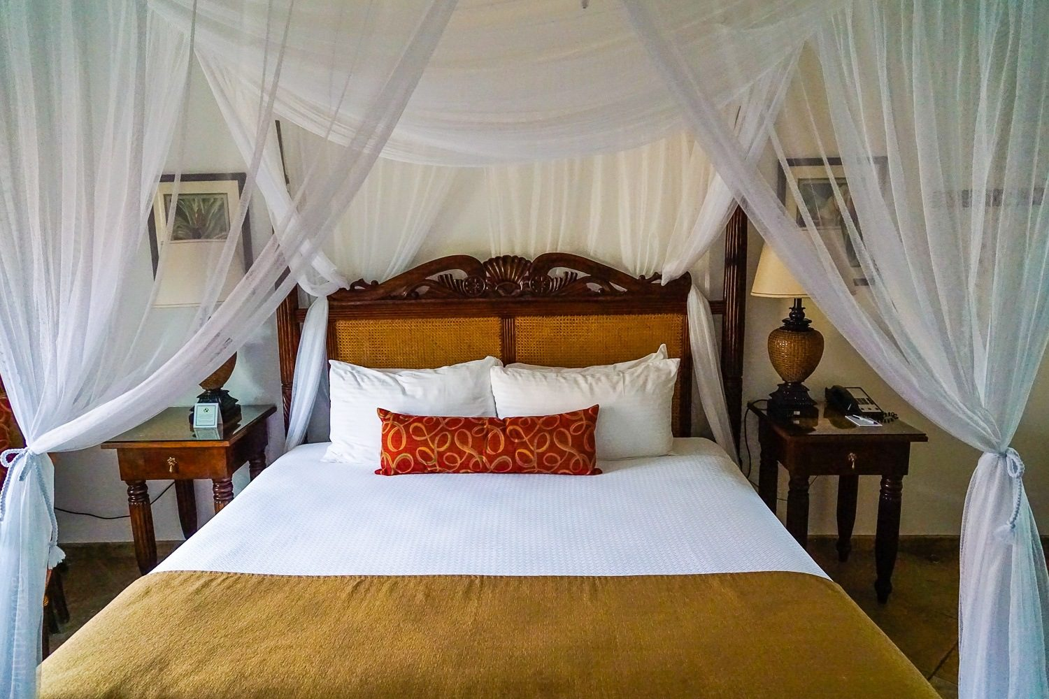 There wasn't a single mosquito in my room, but I appreciated the canopy drape on the bed!