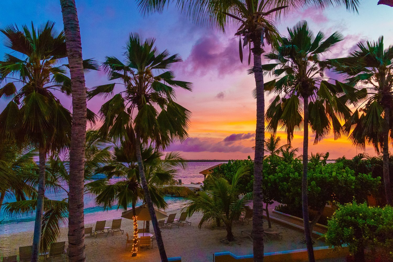 The Bonaire beach sunset view from my balcony.