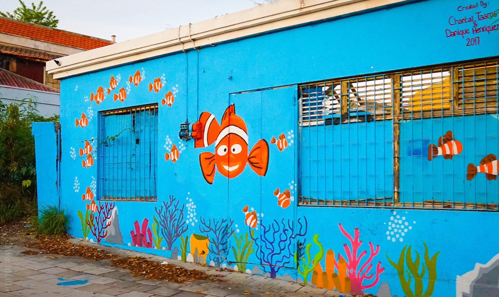 Such a cute fish mural!