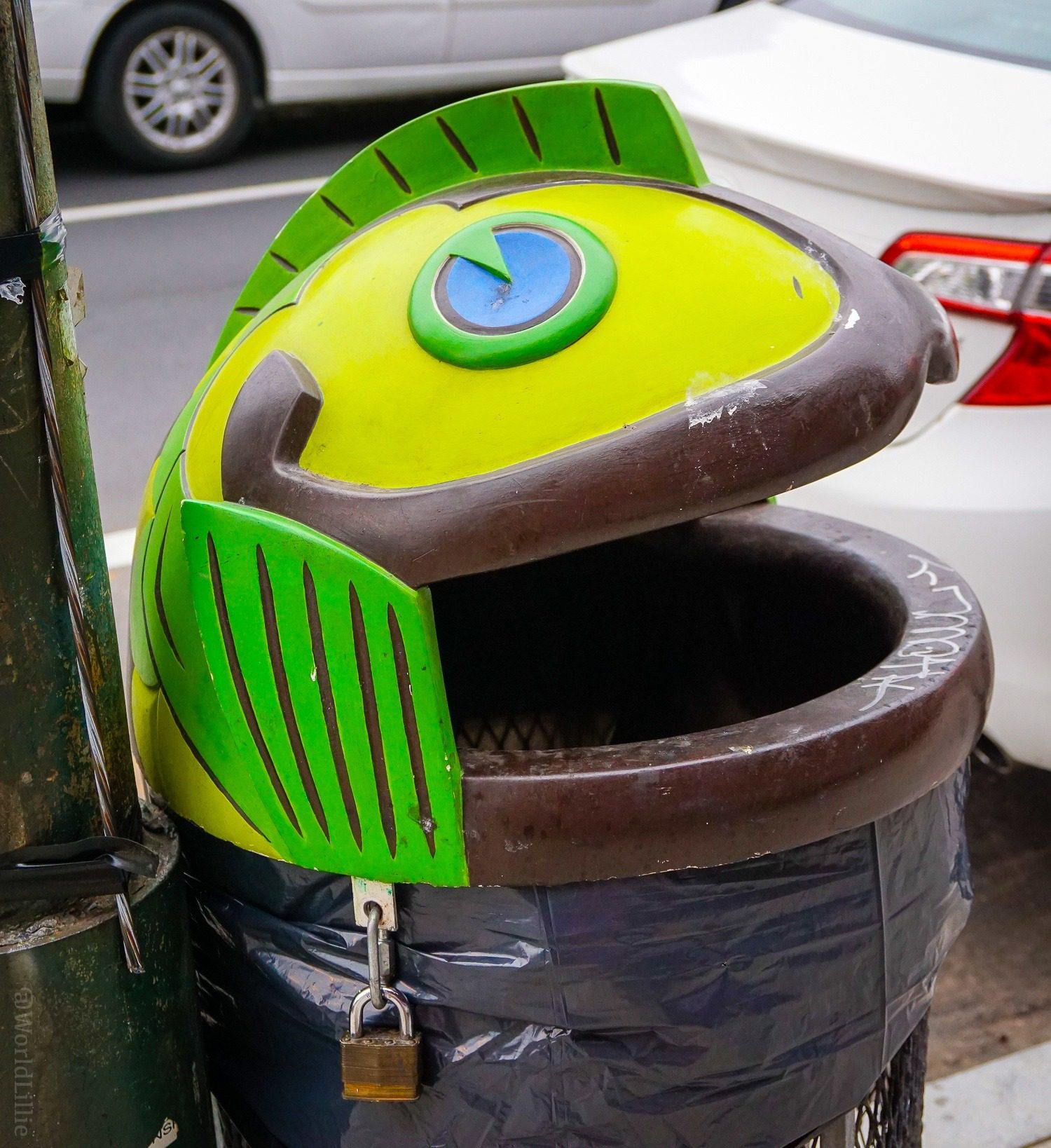Even the trashcans in Fishtown are fish-themed!