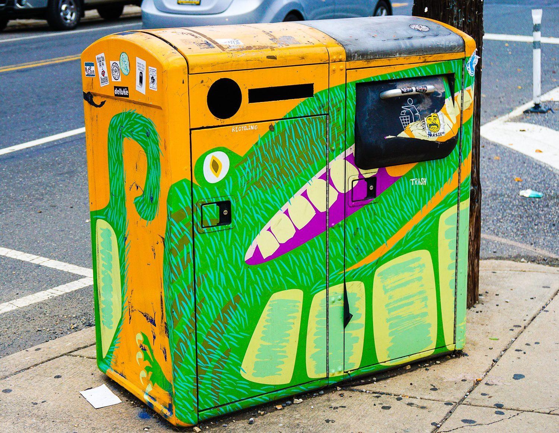 Alligator trash receptacle.