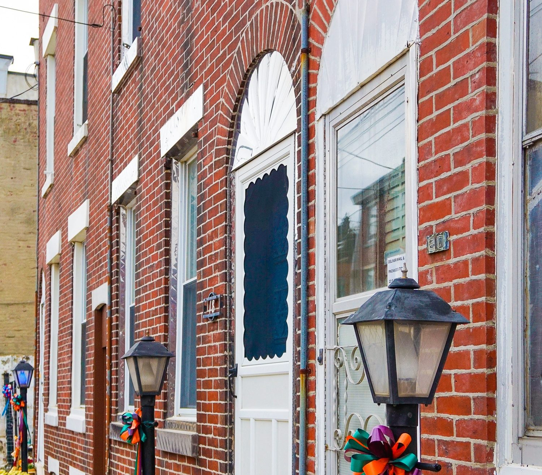 Classic Philadelphia residential buildings.