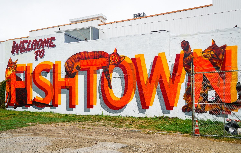This mural welcomes you to Fishtown, Philadelphia.
