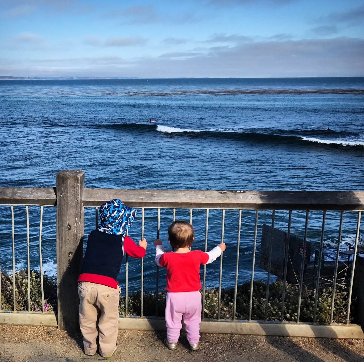 Our little ones yelling at the waves in Santa Cruz, California.