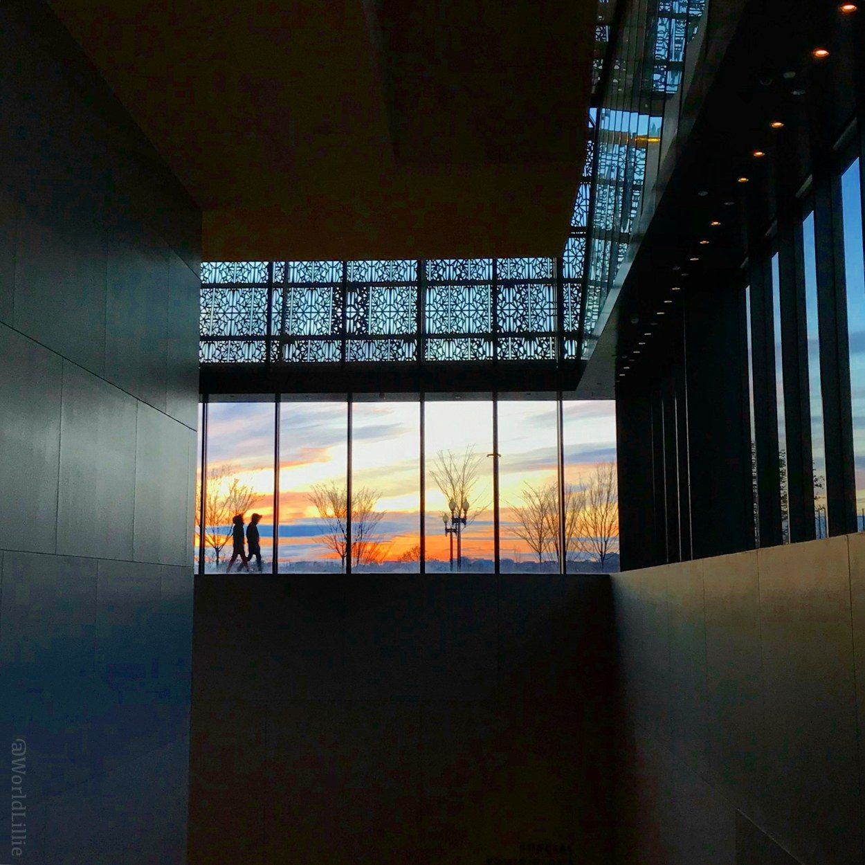 Sunset at DC's phenomenal National Museum of African-American History and Culture, which I visited in December.