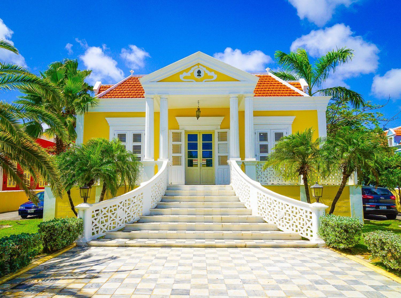A creamy vanilla building.