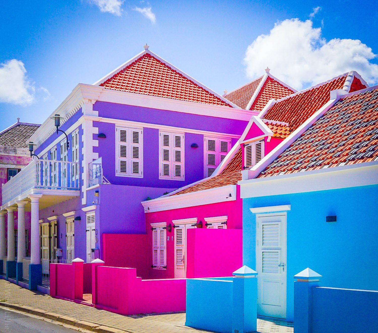 Candy-colored houses.