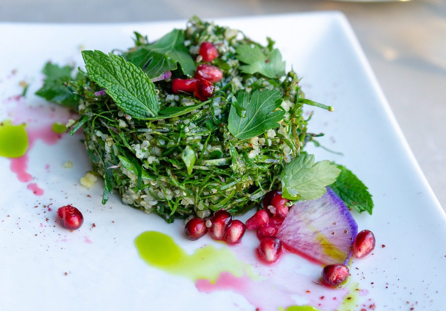 Kale Tabbouleh with Bulgar, Quinoa, Parsley, and Mint.