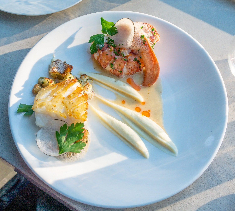 Cod, Lobster, Cauliflower, and Kaffir Lime and Butter Foam.