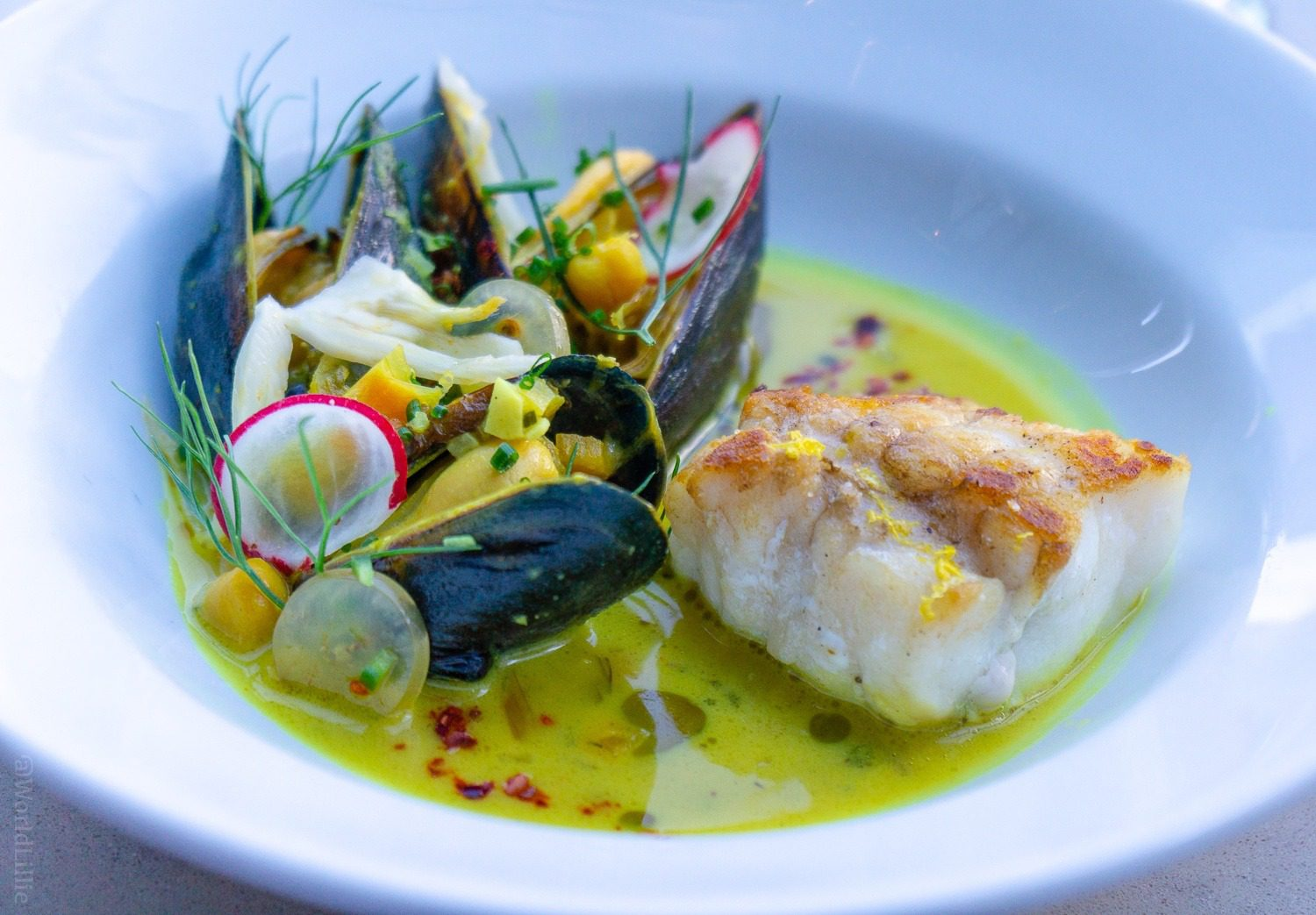 Monkfish with Mussels, Fennel, and Golden Chickpea Stew.