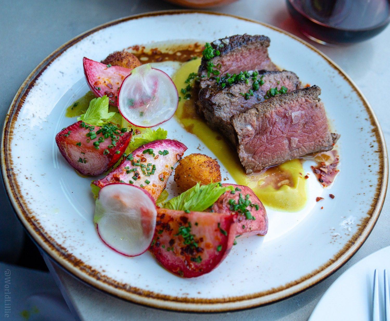 Beef Ribeye with Scarlet Turnip, Hawaig, and Celery.