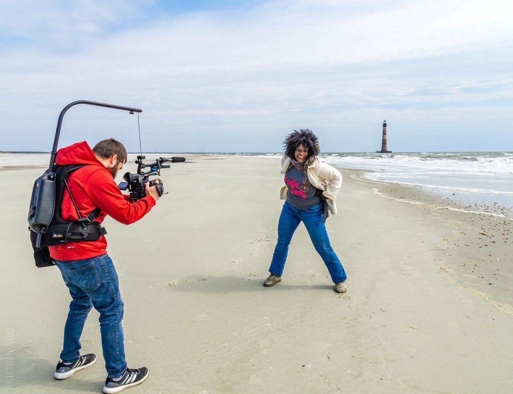 The cameraman filming Roni!