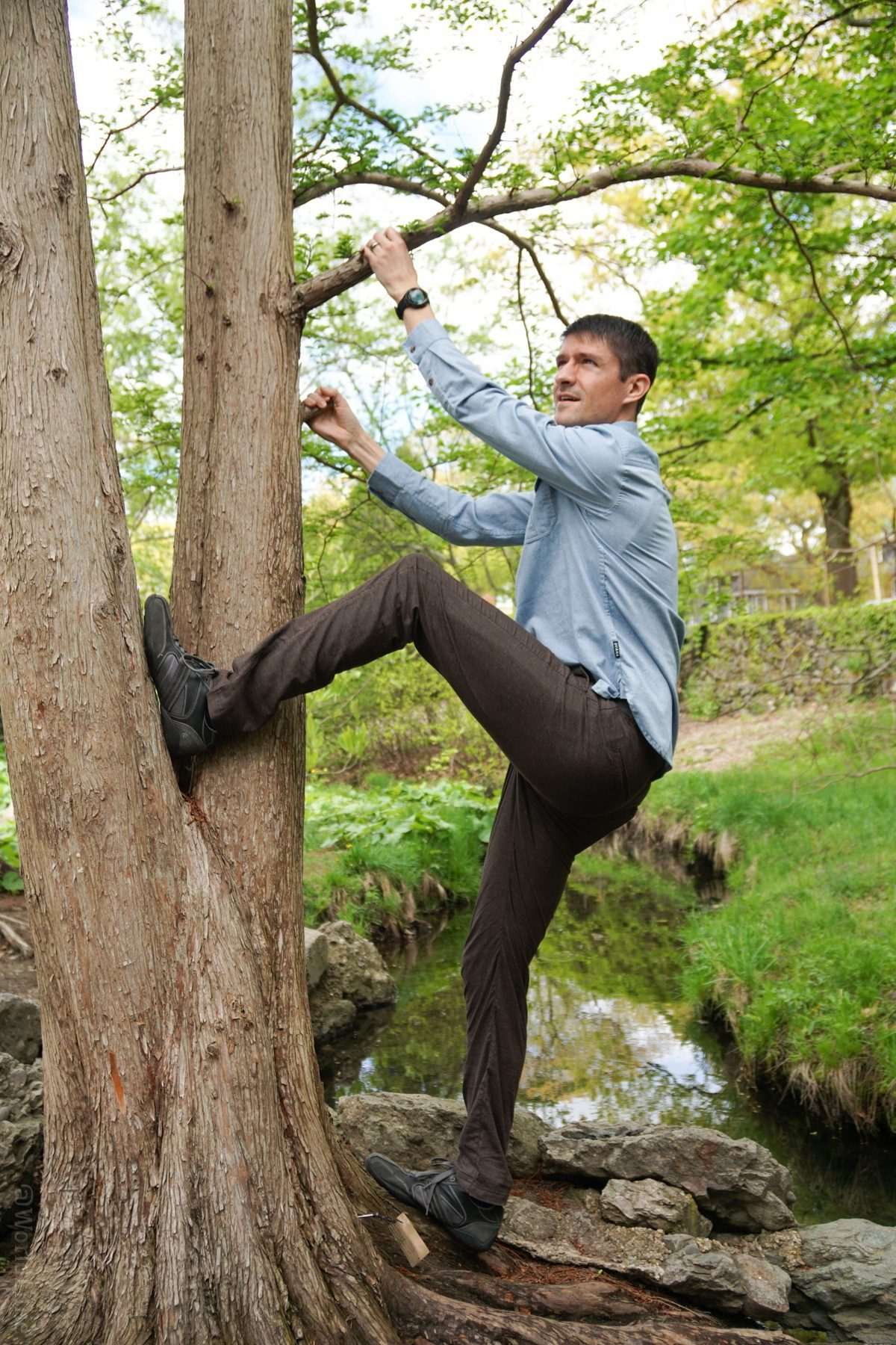 No problem climbing a tree in those pants!
