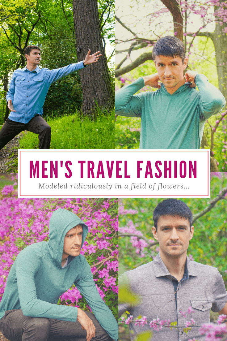 Men's travel clothes ideas can blossom from this male modeling fashion photoshoot amid spring flowers in Boston!