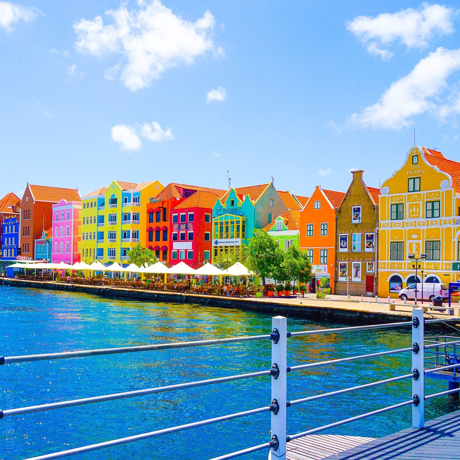 The famed rainbow waterfront of Willemstad!