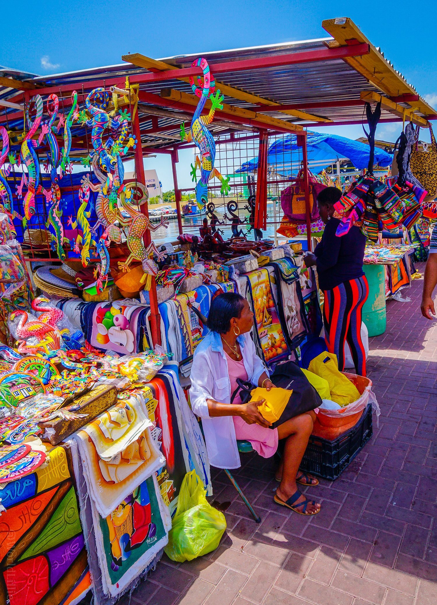Vendors by the waterfront in Willemstad.