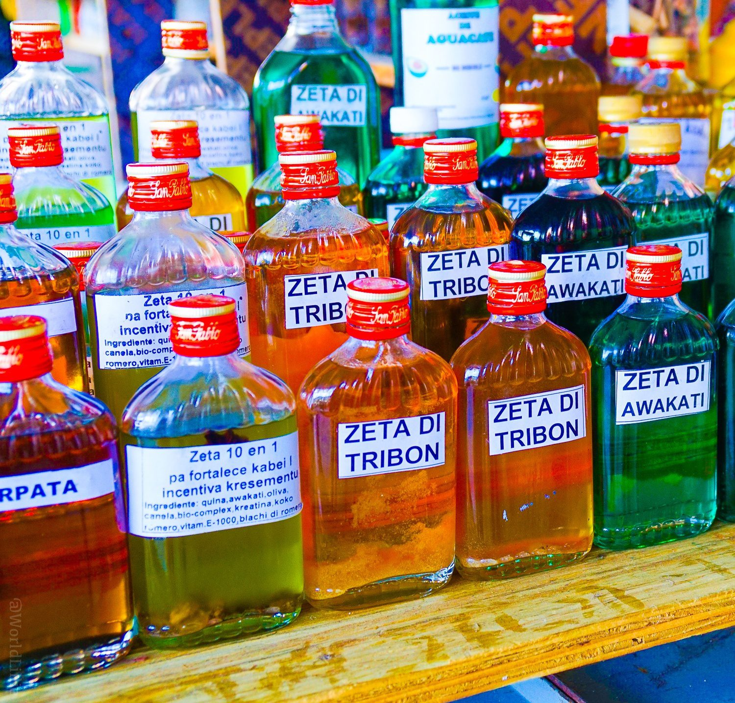 Medicinal oils -- like SHARK! -- at the market in Willemstad.