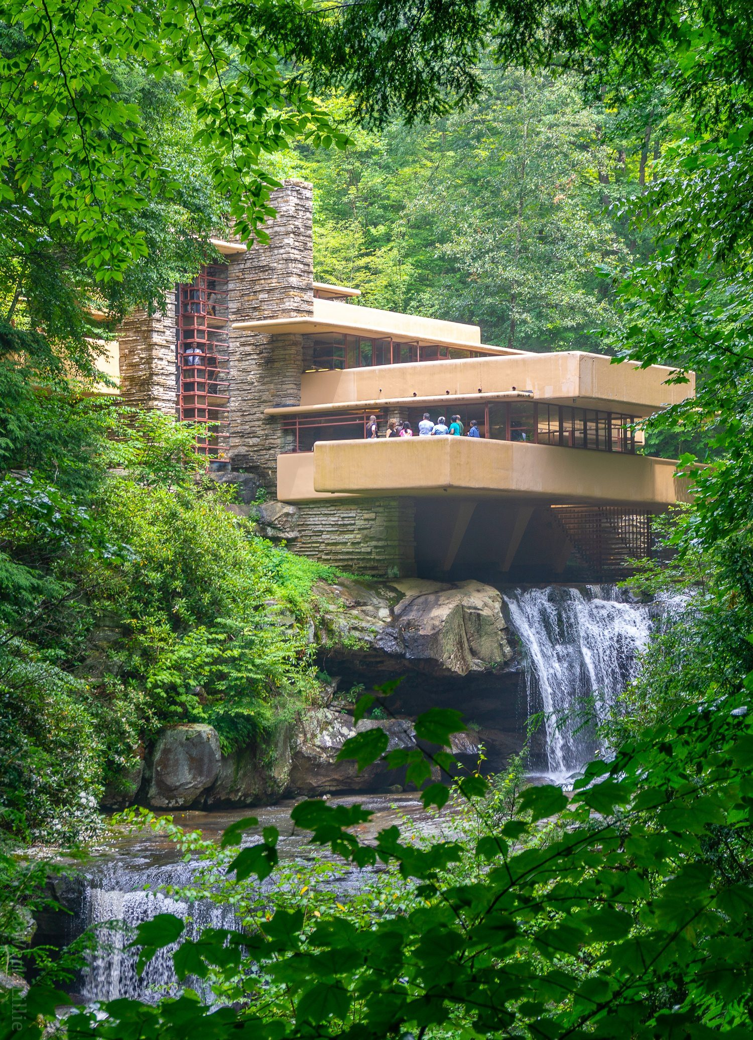 """Frank Lloyd Wright's Fallingwater, famous house for architecture, is a great attraction near Pittsburgh, PA in the Laurel Highlands, even in """"falling water""""!"""