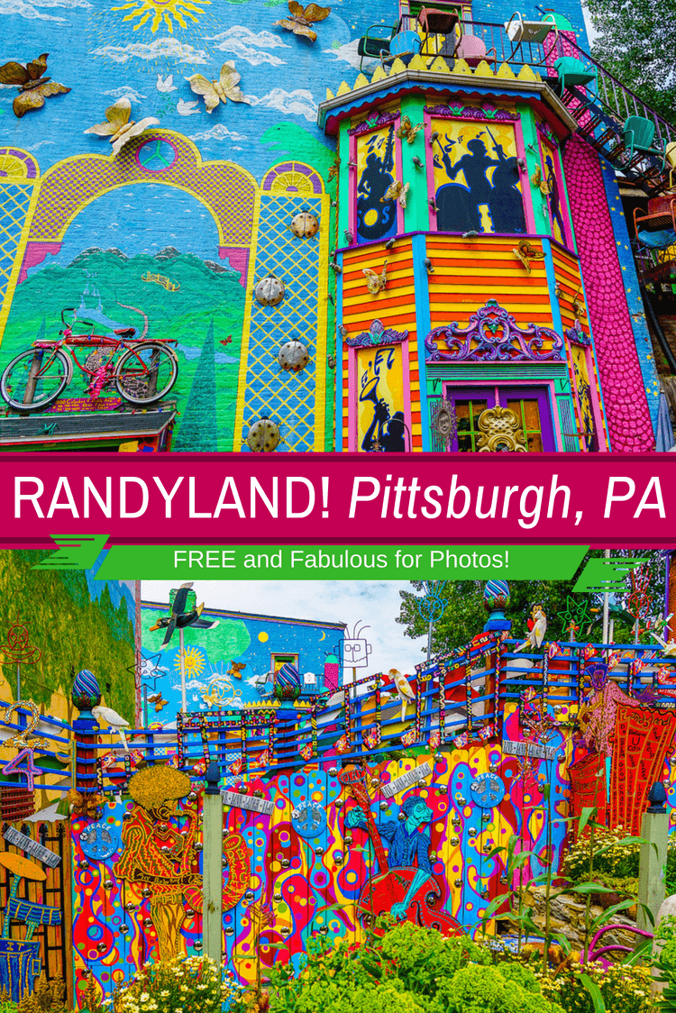 Randyland is the best free place to visit in Pittsburgh, PA for colorful photos, fun, & creative humor! See psychedelic rainbow photos from a visiting teacher. #Pittsburgh #Randyland #Travel #Color #Design #Creativity