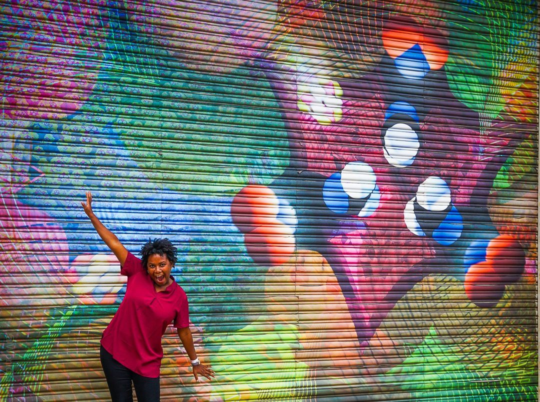 Fabulous former student, Steph, with a Central Square mural.