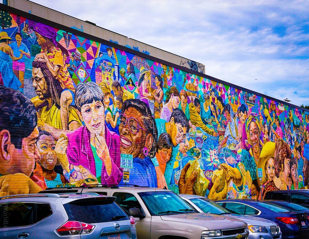 The famous mulitcultural mural behind Graffiti Alley.