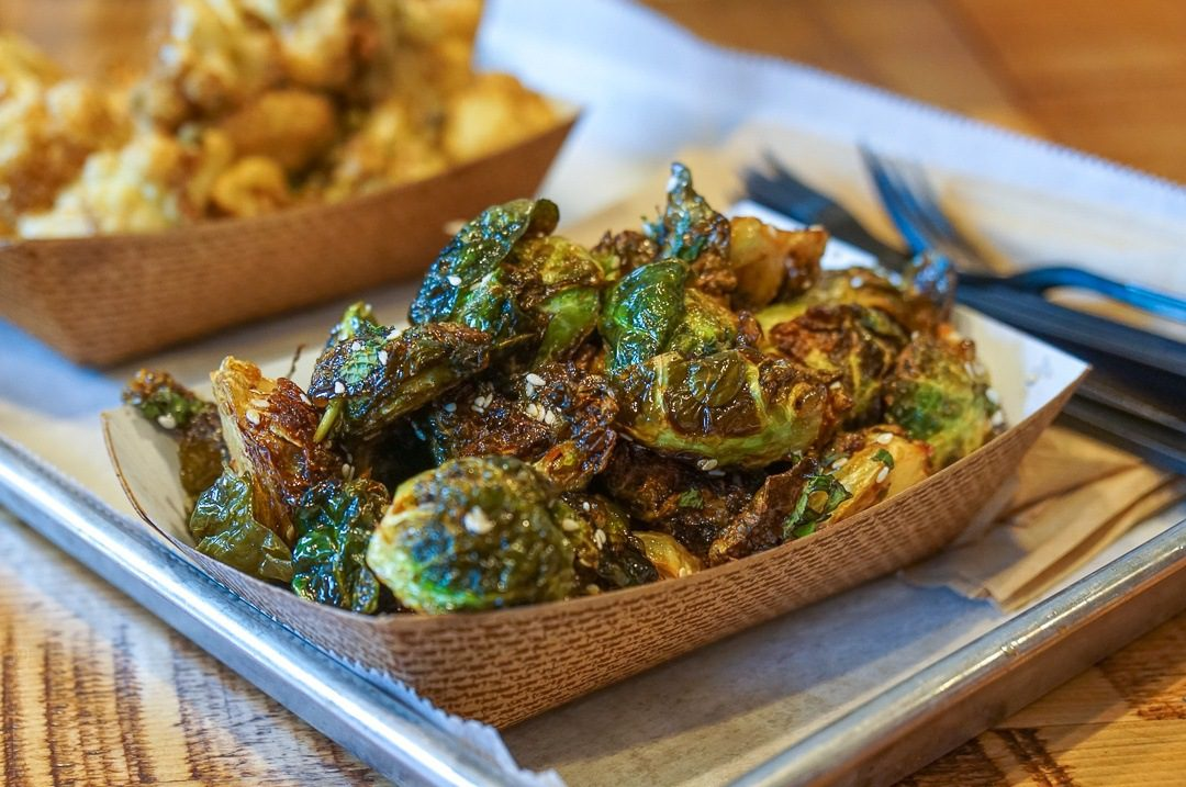 Crispy, juicy Brussels sprouts at Mainely Burgers.