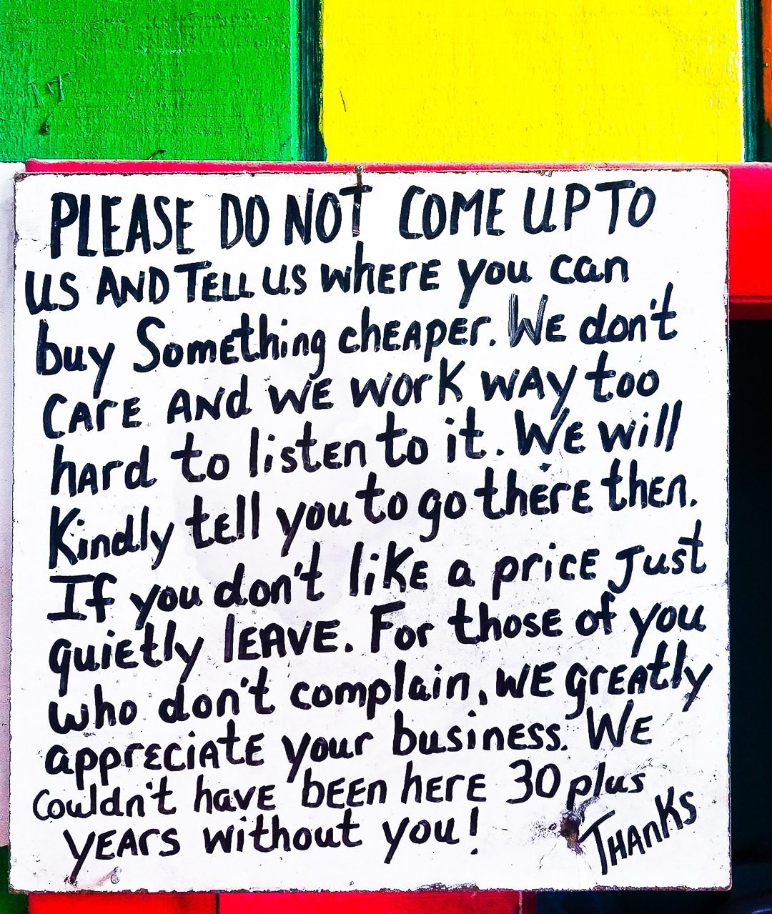 """""""If you don't like a price, just quietly leave."""" Fresh!"""