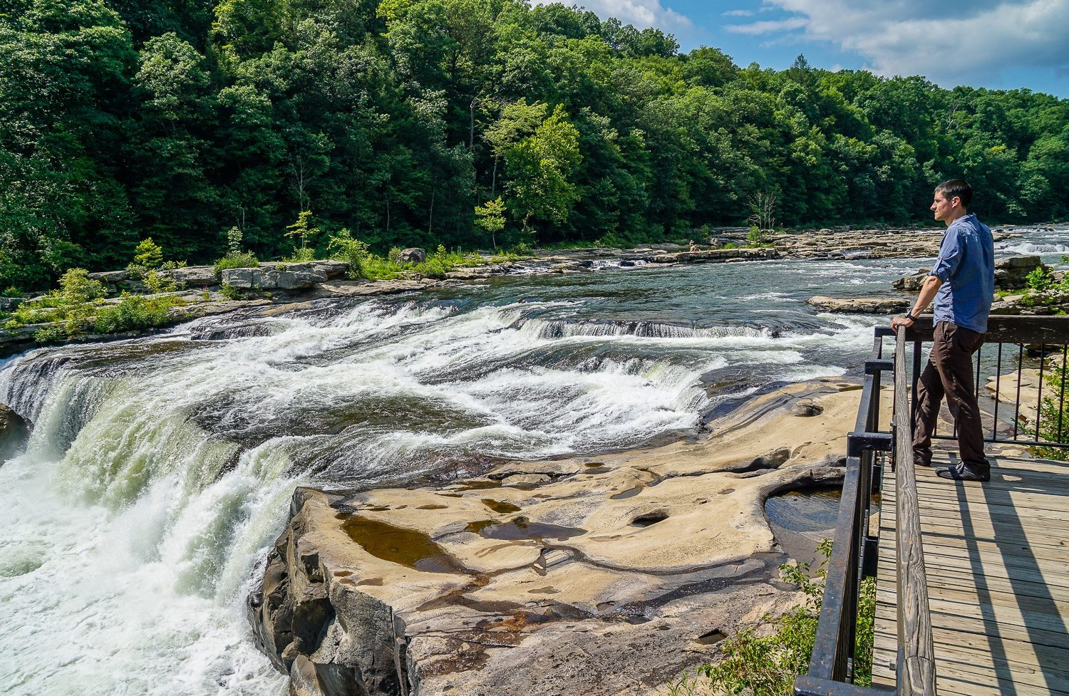 The Youghiogheny river, where whitewater rafting happens at Ohiopyle State Park.